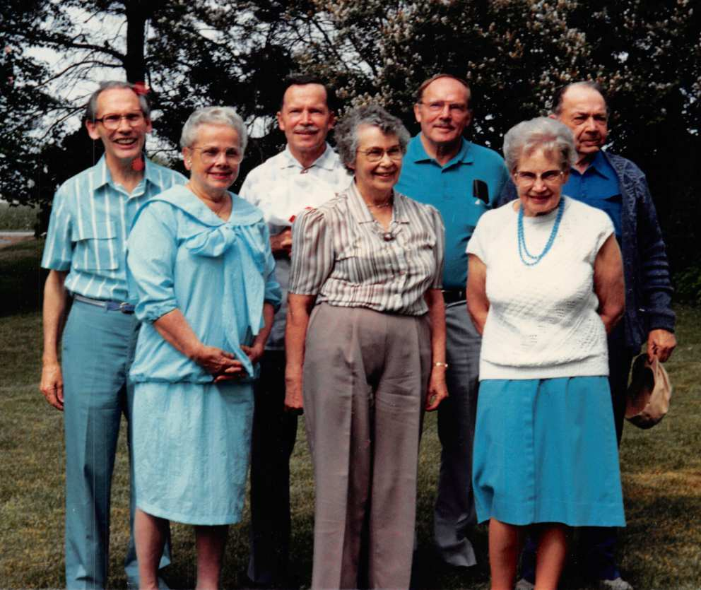 Bob, Ruth, Walter, Marguerite , Howard, Mary and John (missing Jerry) in the 1970s
