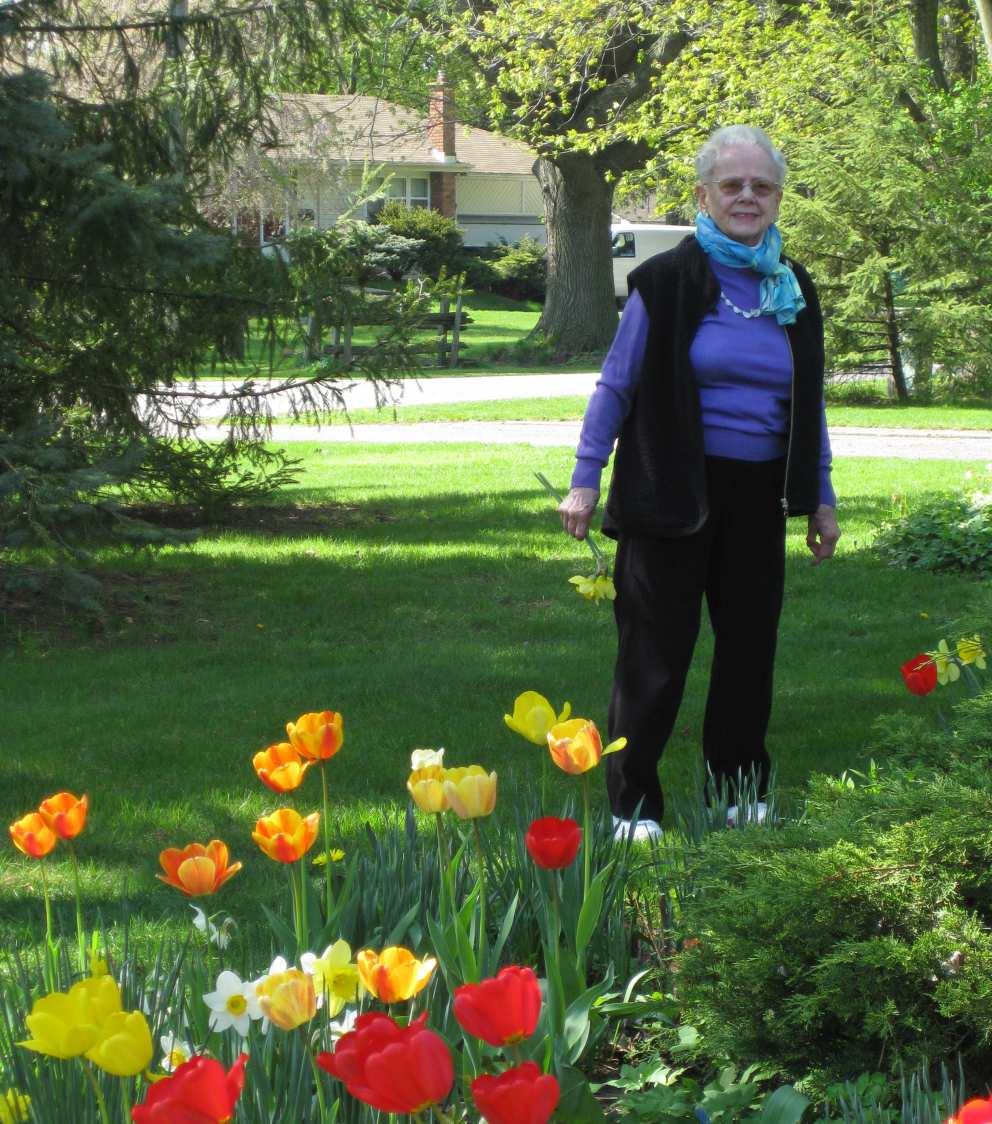 Ruth in her front garden in Chatham