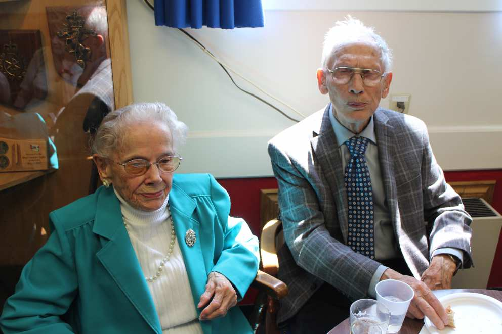 Ruth with brother Bob at brother Howard's funeral in 2015