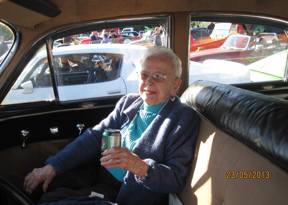 Ruth in an antique car parade - 2013