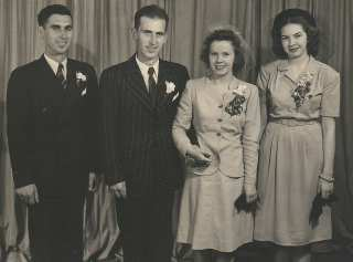 Ruth's wedding photo. Jim's brother Don is best man on the left.