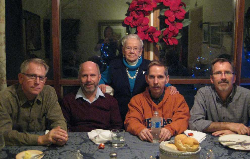 Ruth with her four sons Ron, Hugh, Don and Scott