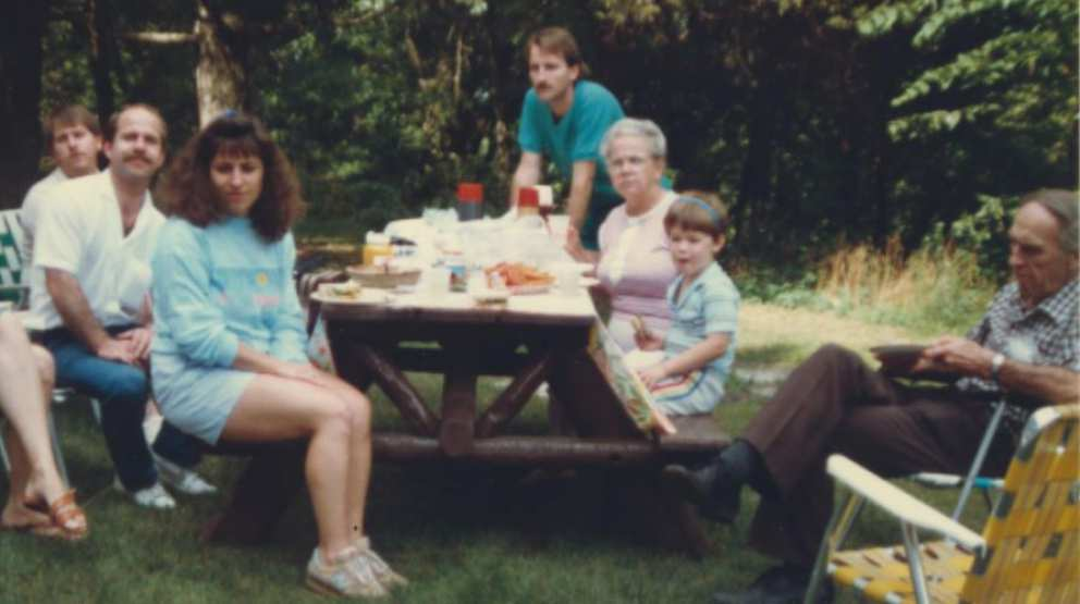 From left Ron, Hugh, Jennifer (Scott's wife) Scott, Ruth, Neil (Ron's son) and Jim. Around 1988